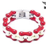 Red White Stainless Steel Motorcycle Chain Bracelet