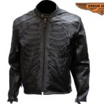 Halloween Sale- Men's Reflective Skeleton Motorcycle Jacket